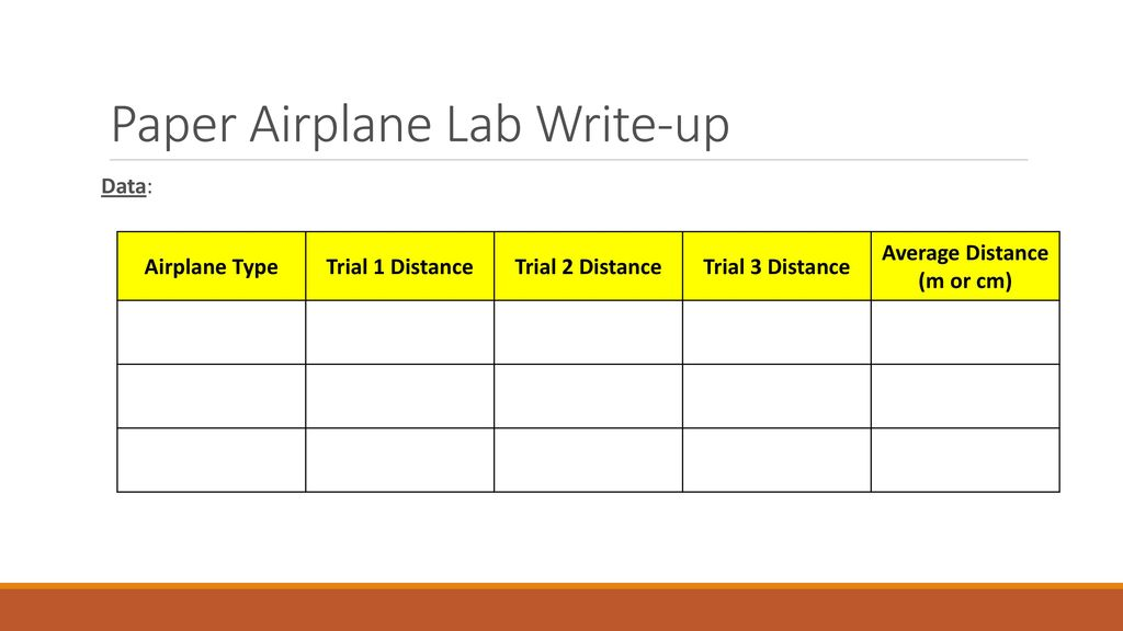 Paper Airplane Lab QUESTION: How does the weight of a paper