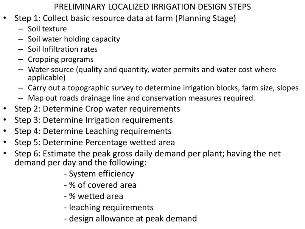 Drip Irrigation Design And Operation Principles Ppt Download