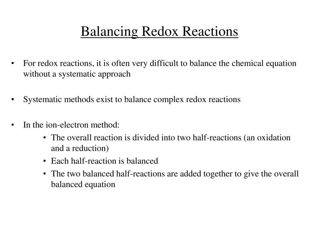 Balancing Redox Reactions - ppt download