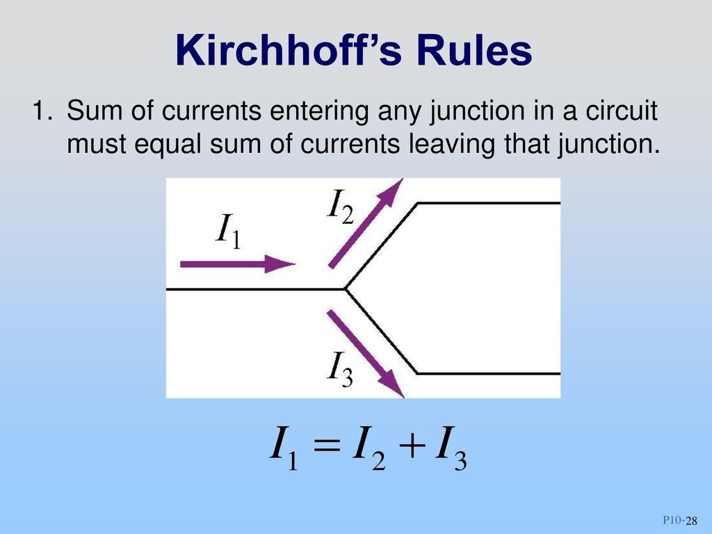Class 10 Outline Hour 1 Dc Circuits 2 Kirchhoffs Loop Rules Circuit Diagram 28 Sum Of Currents Entering Any Junction In A Must Equal Leaving That