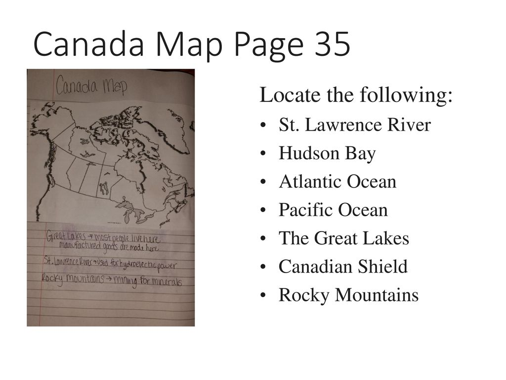 Canada Map Page 35 Locate the following: St  Lawrence River