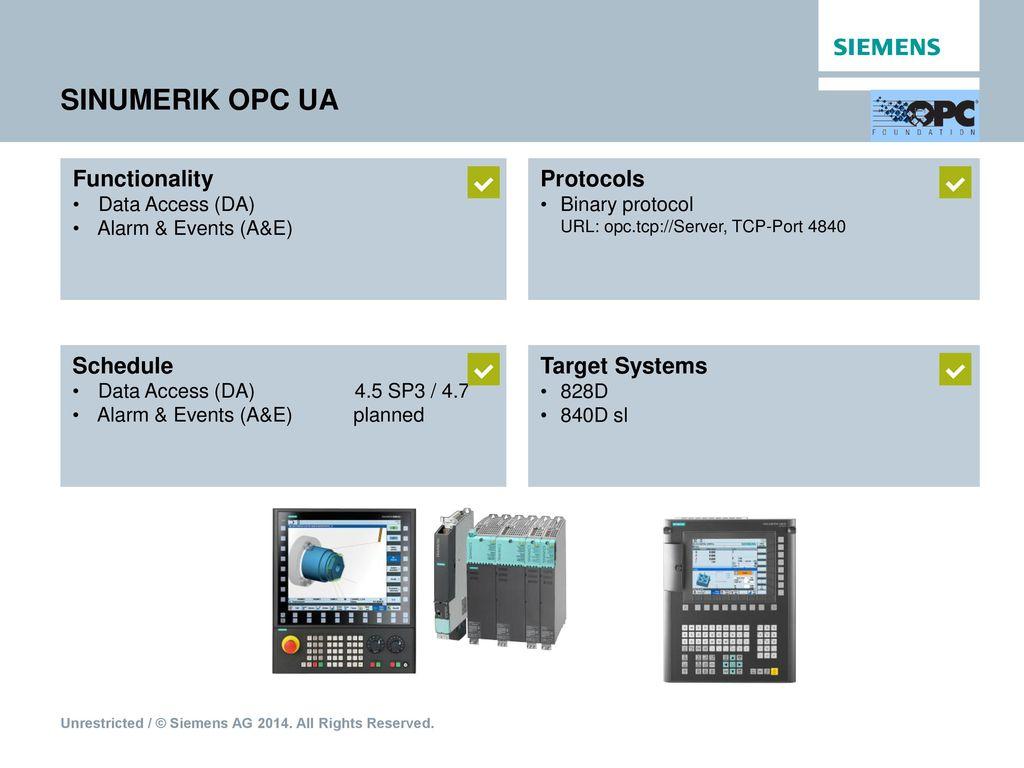 SINUMERIK Integrate Access MyMachine /OPC UA - ppt download