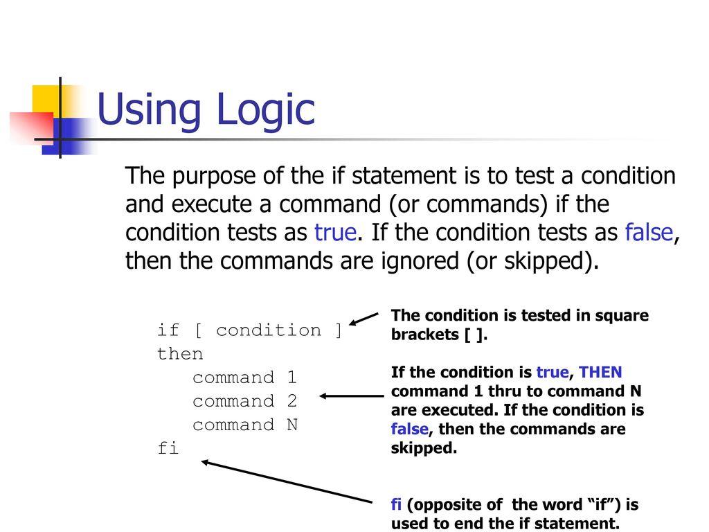 Agenda Bash Shell Scripting – Part II Logic statements Loop