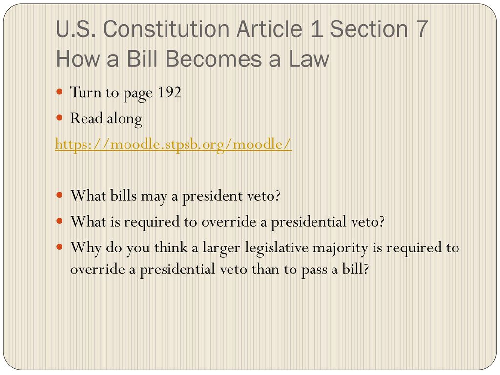 How a Bill Becomes a Law Monday, 10-24, ppt download