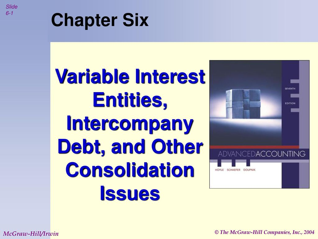 Chapter Six Variable Interest Entities, Intercompany Debt