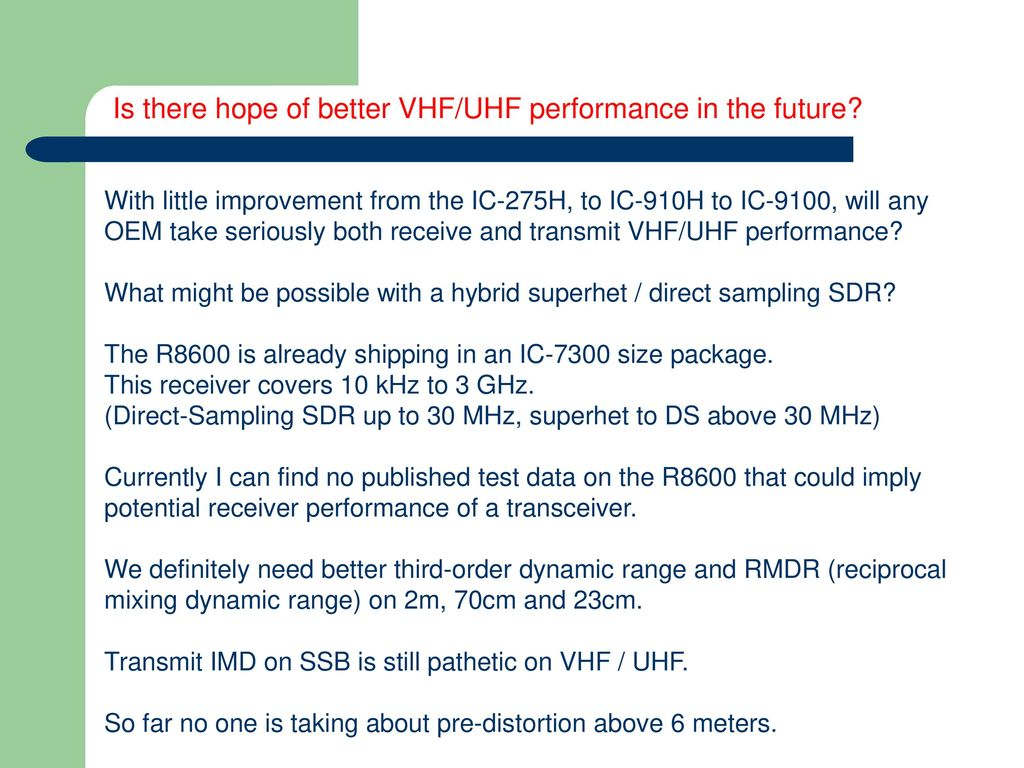 Transceiver Performance for the 6m - UHF operator - ppt download