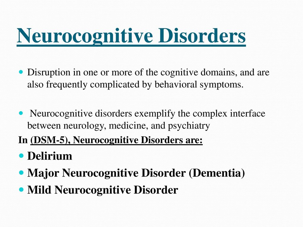 three categories of neurocognitive disorders