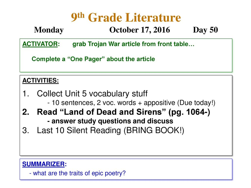 9th Grade Literature Monday October 17, 2016 Day ppt download
