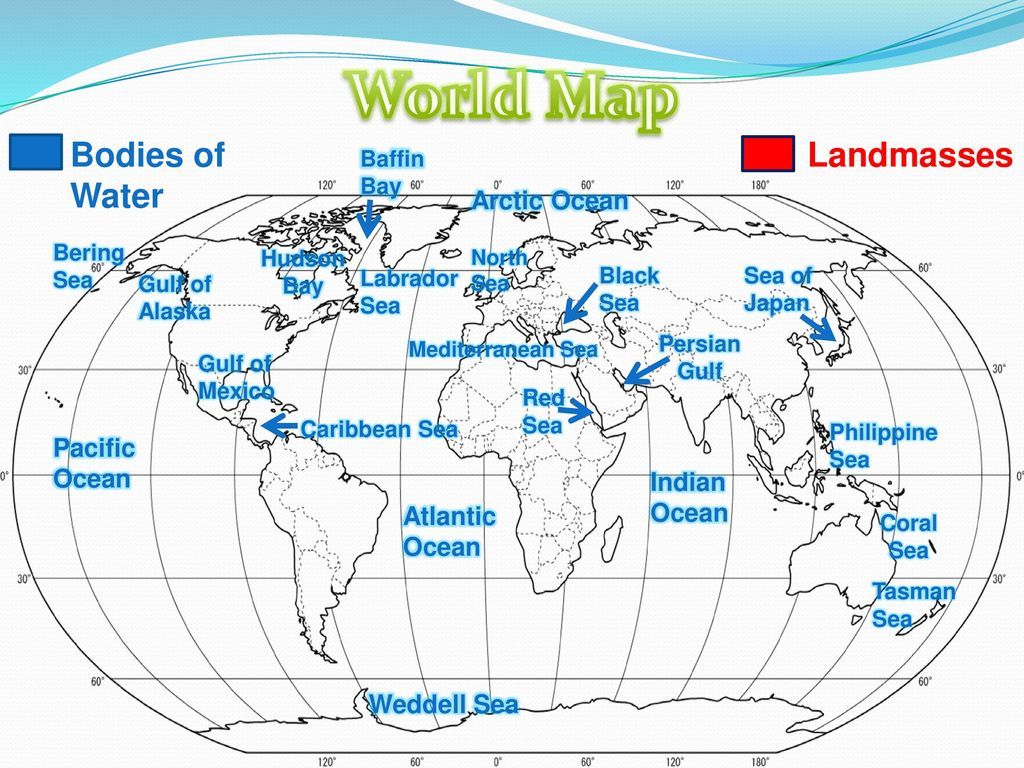 Picture of: World Map Bodies Of Water Landmasses Ppt Download