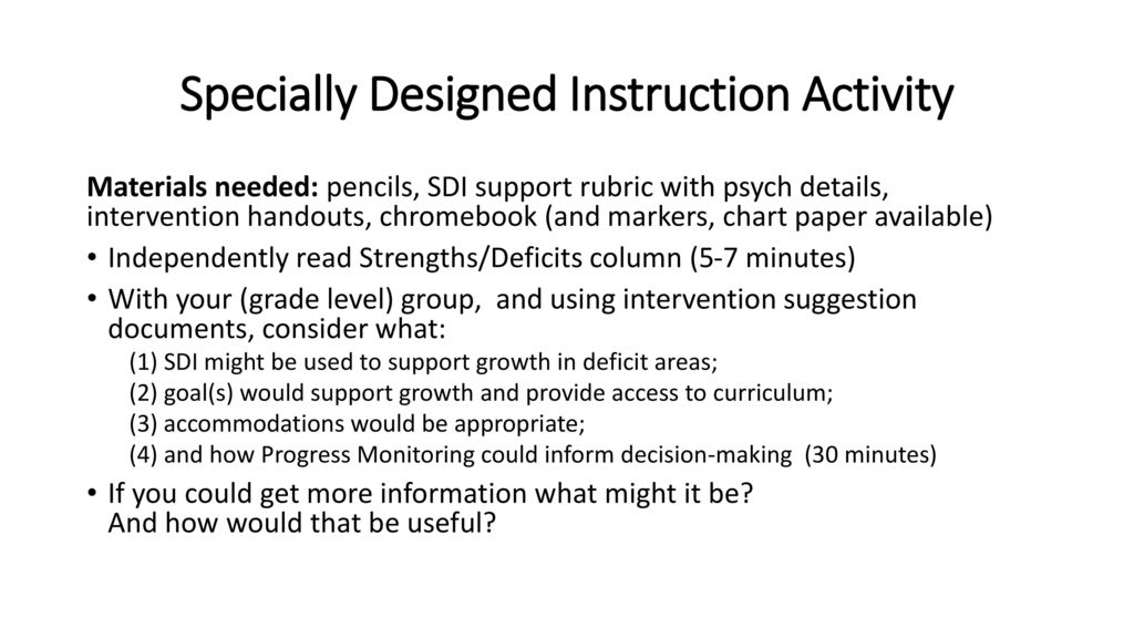 Specially Designed Instruction In General Education Classrooms Ppt Download