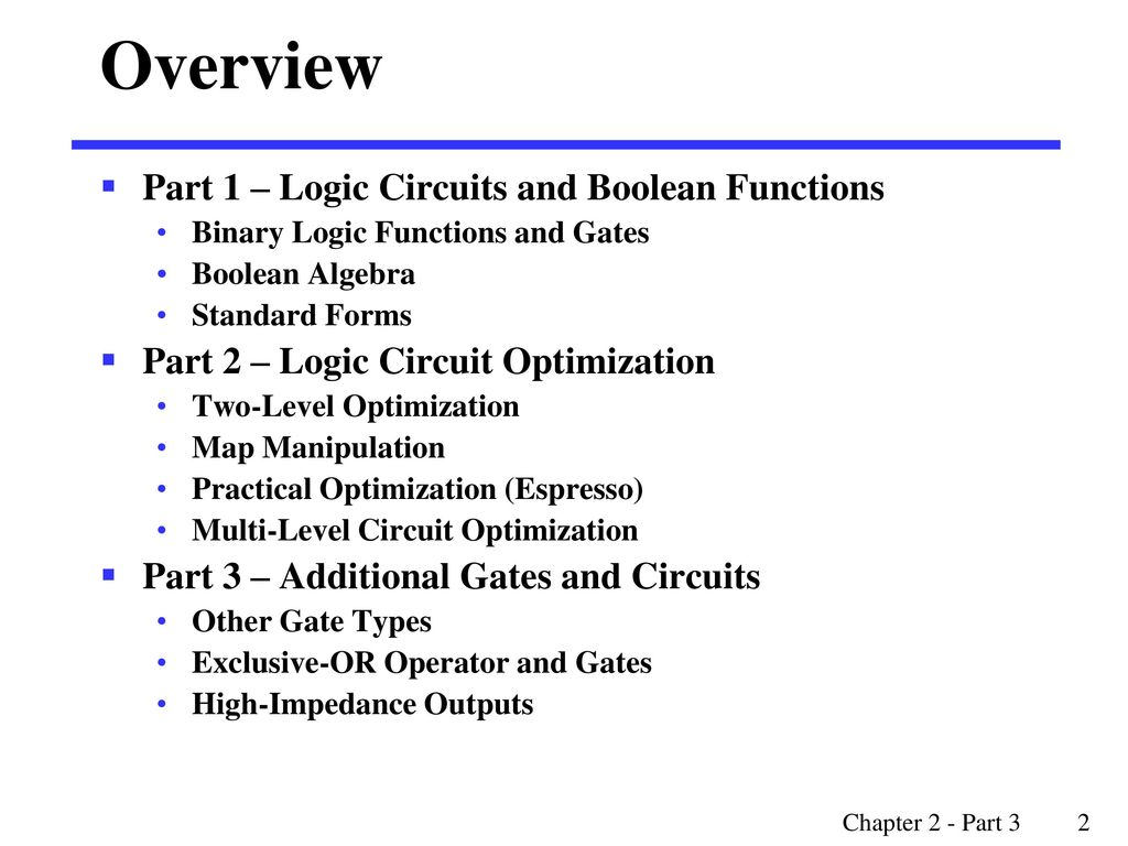 Overview Part 1 Logic Circuits And Boolean Functions Ppt Download Gates Circuit