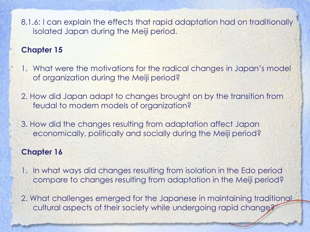 Unit 3: Japanfrom Isolation To Adaptation Chapter 1216