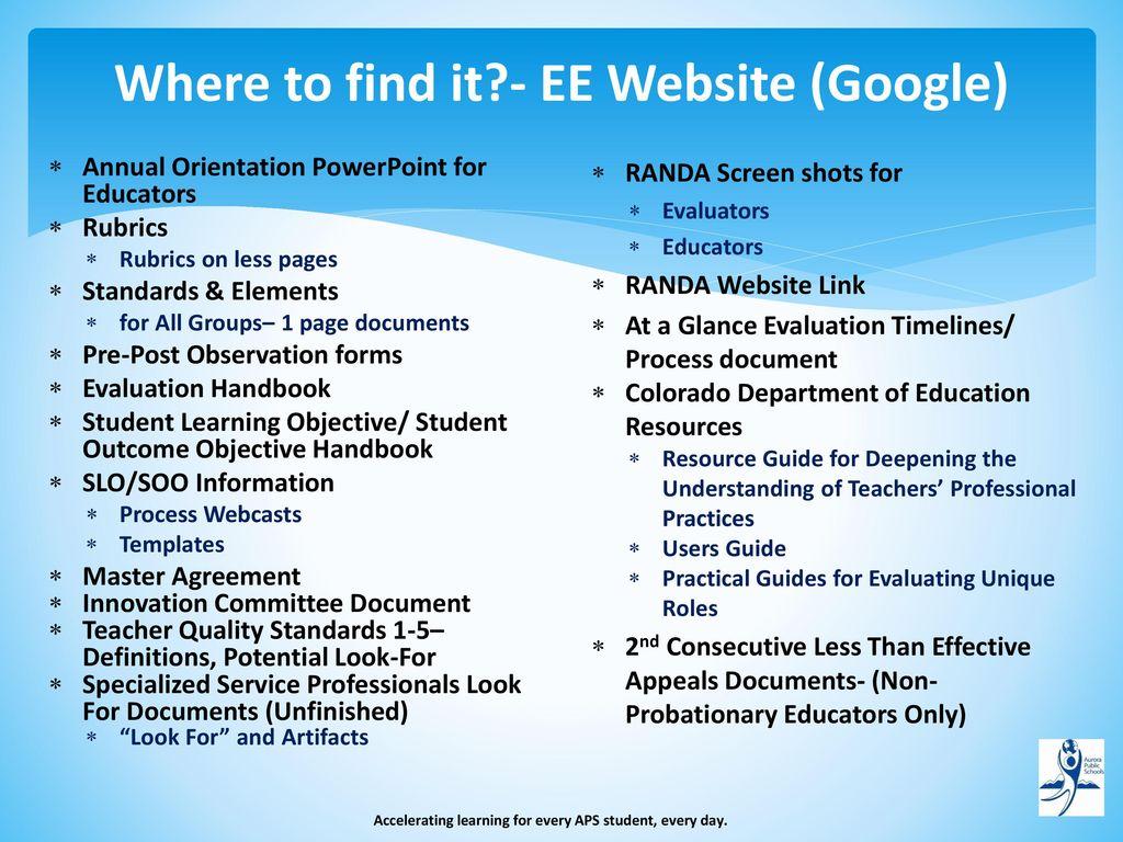 Educator Effectiveness Educator Training- Teachers, TOSAs, & SSPs