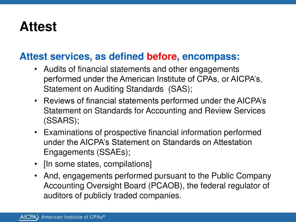 an overview of the new comprehensive definition of attest - ppt download