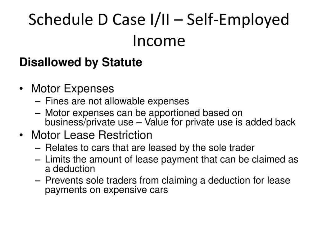 Schedule D Case I/II – Self-Employed Income