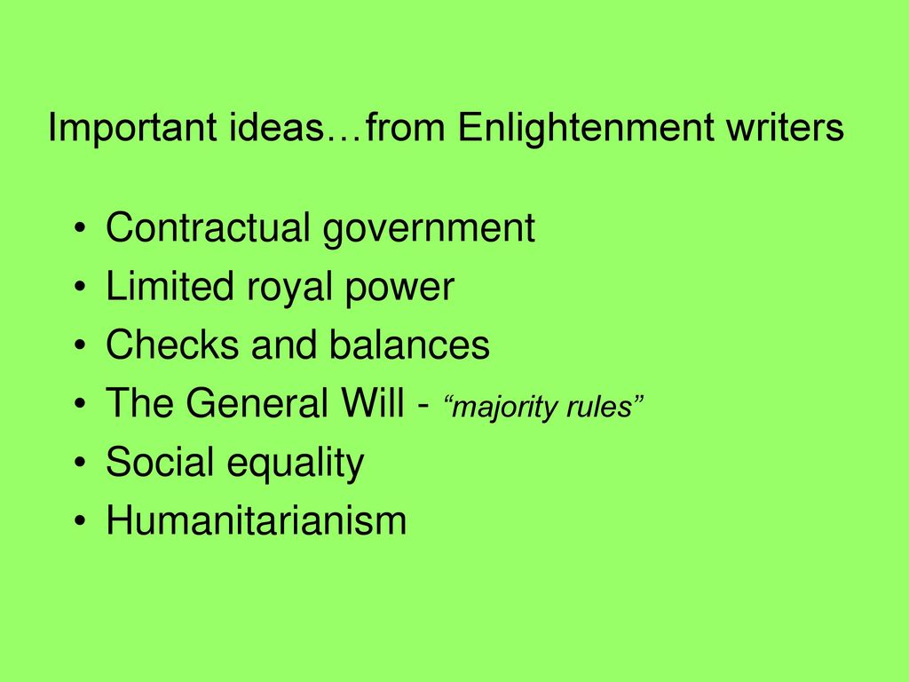The Enlightenment \u2013 the intellectual movement of the 18th c