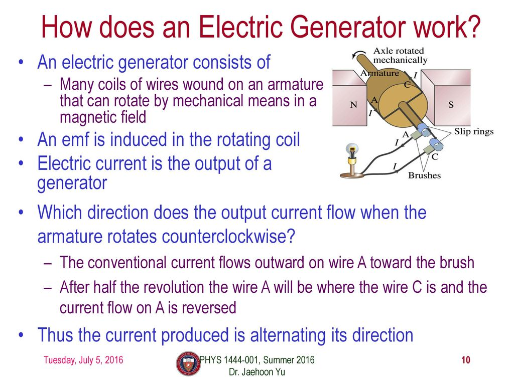Phys 1441 Section 001 Lecture 16 Ppt Download How Does An Electric Generator Work 10