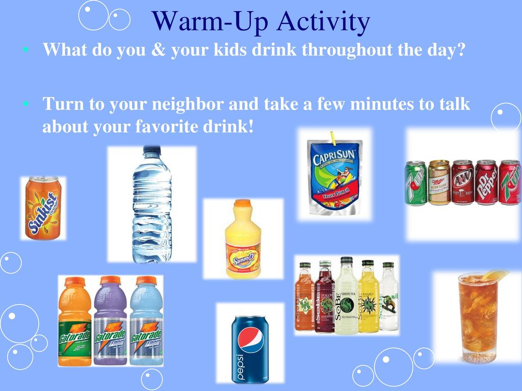 Warm-Up Activity What do you & your kids drink throughout the day