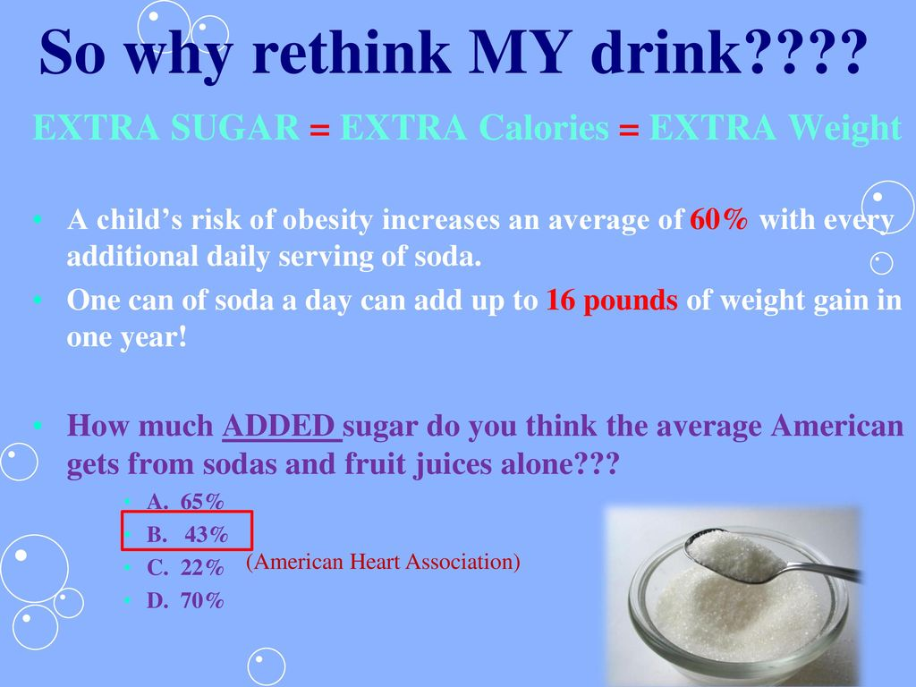 So why rethink MY drink EXTRA SUGAR = EXTRA Calories = EXTRA Weight.