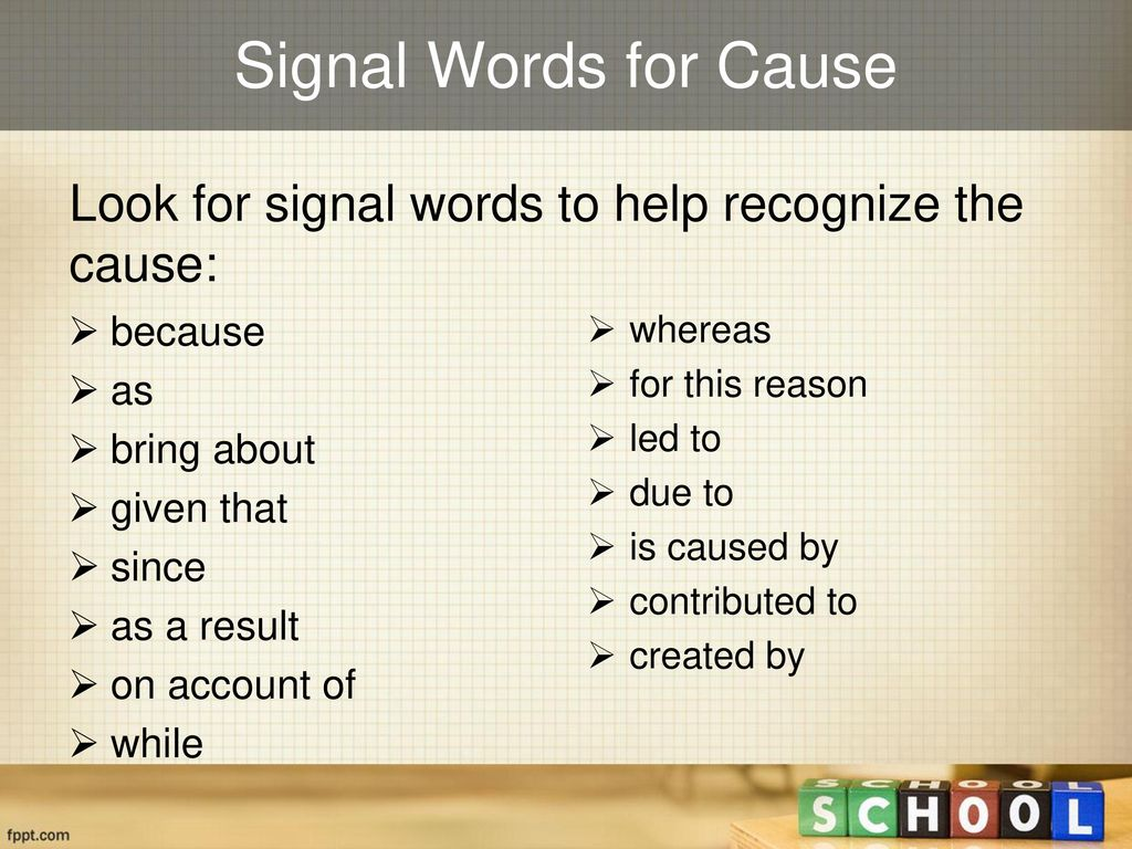 cause signal words