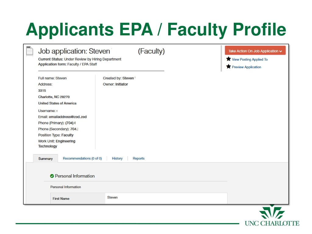 Procedures for Hiring Faculty at UNC Charlotte - ppt download