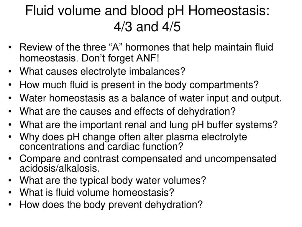 Fluid Volume And Blood Ph Homeostasis 43 And 45 Ppt Download