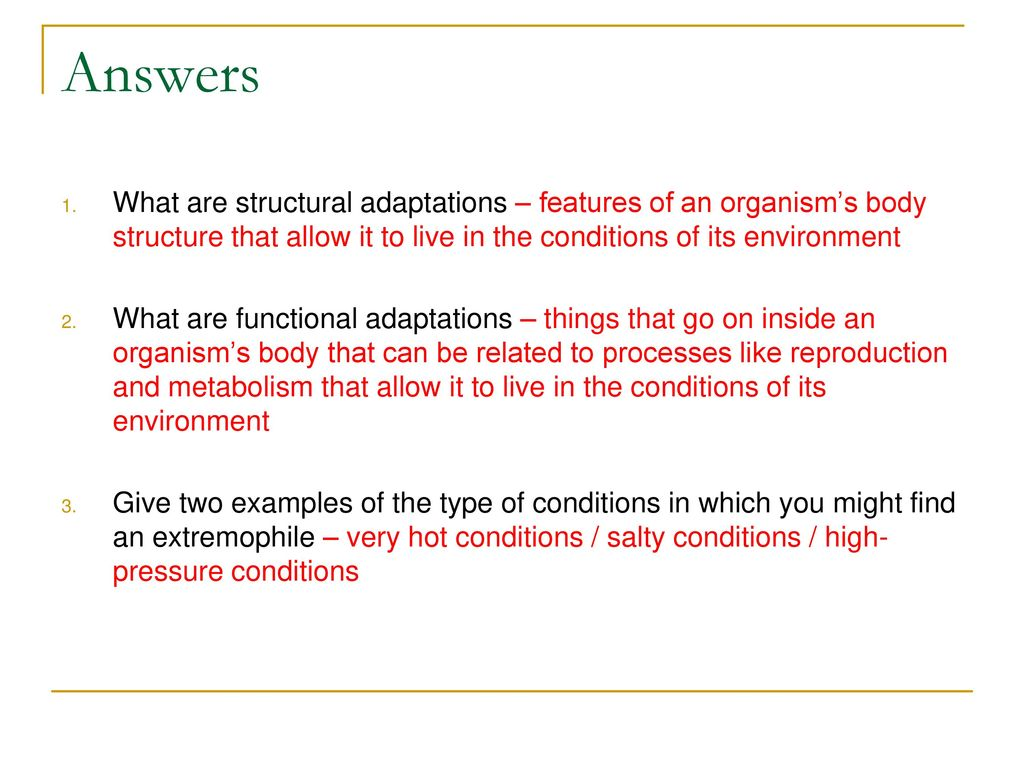 Features of the organism environment