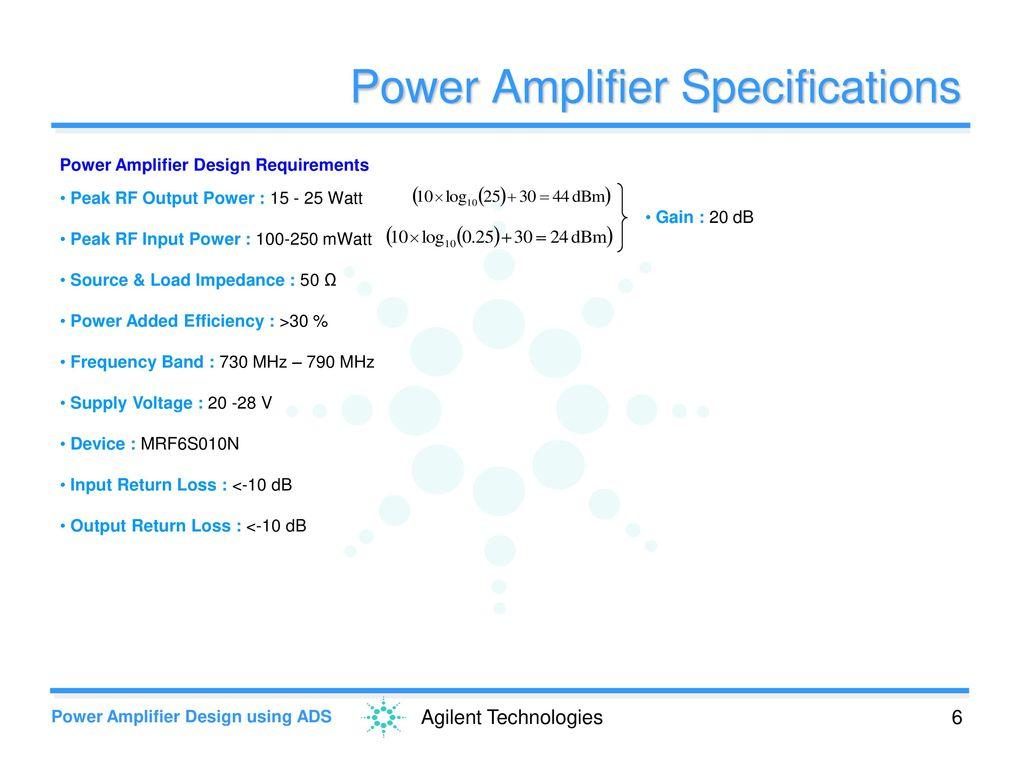 Power Amplifier Design Using Ads Ppt Download 25 Watt Specifications