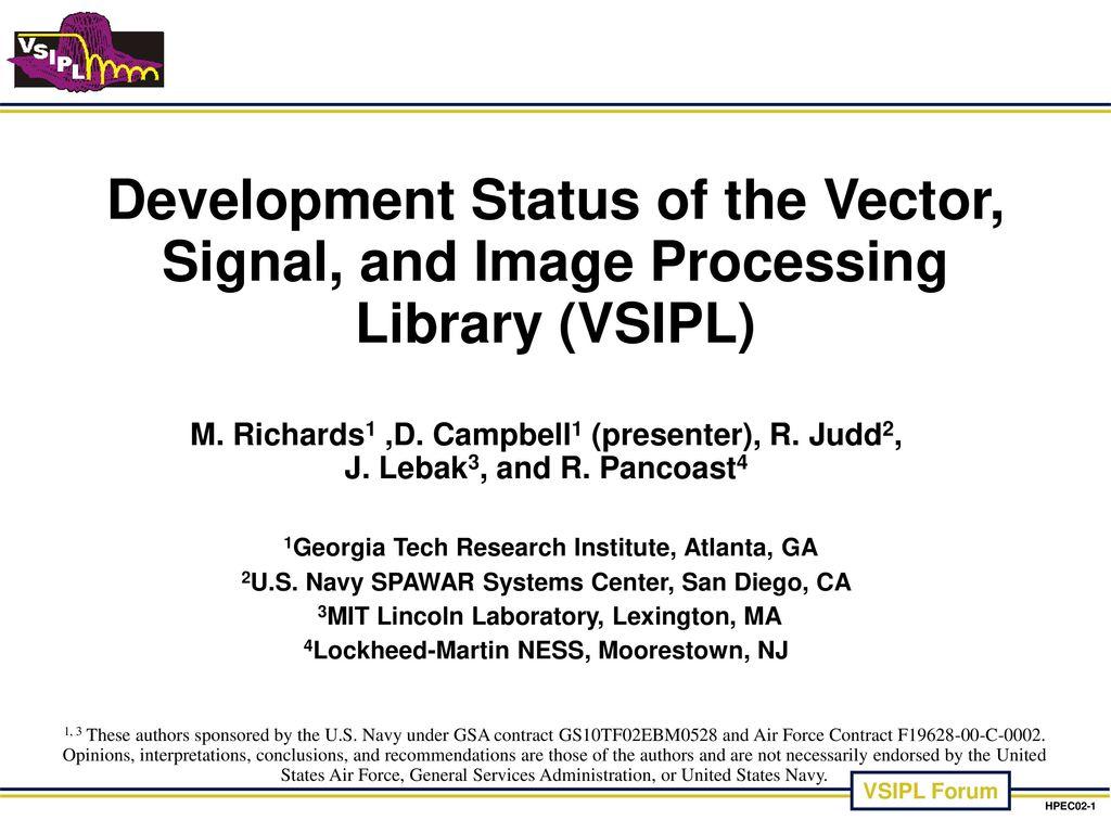 M. Richards1 ,D. Campbell1 (presenter), R. Judd2, J. Lebak3, and R ...
