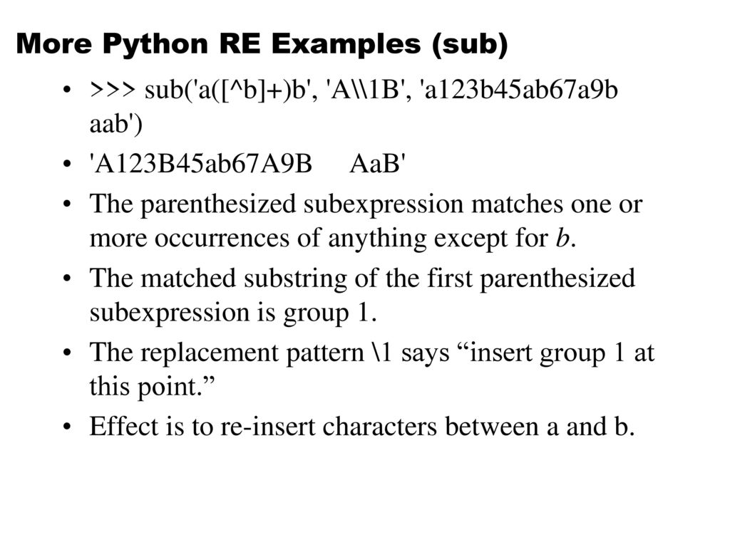 More Python RE Examples (sub)