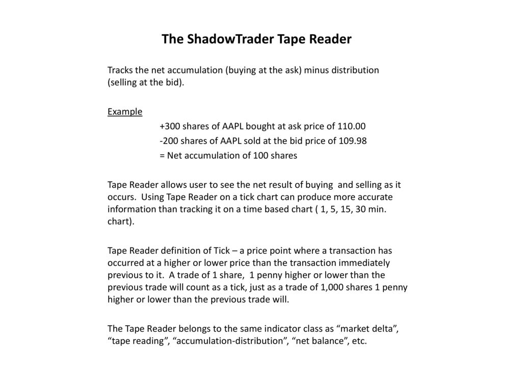 The ShadowTrader Tape Reader - ppt download