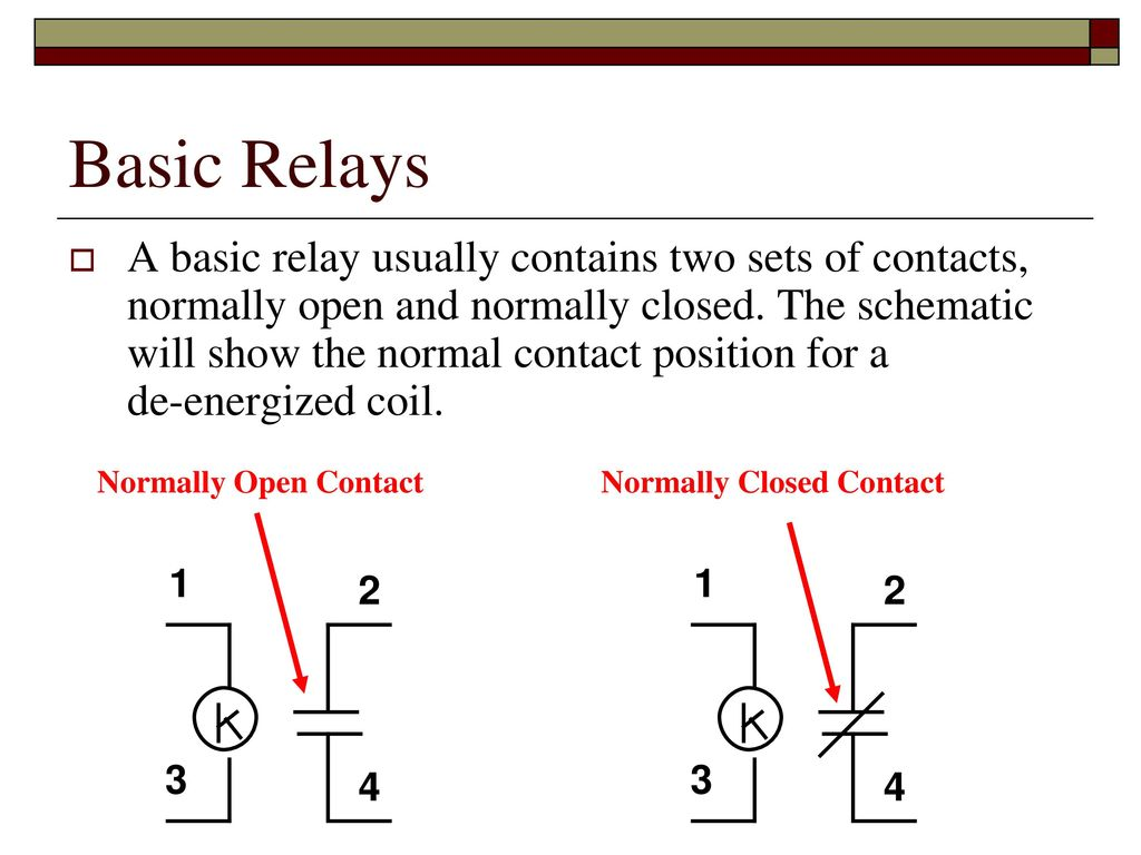 Relay Logic Ppt Download Normally Open Vs Closed Contact Basic Relays