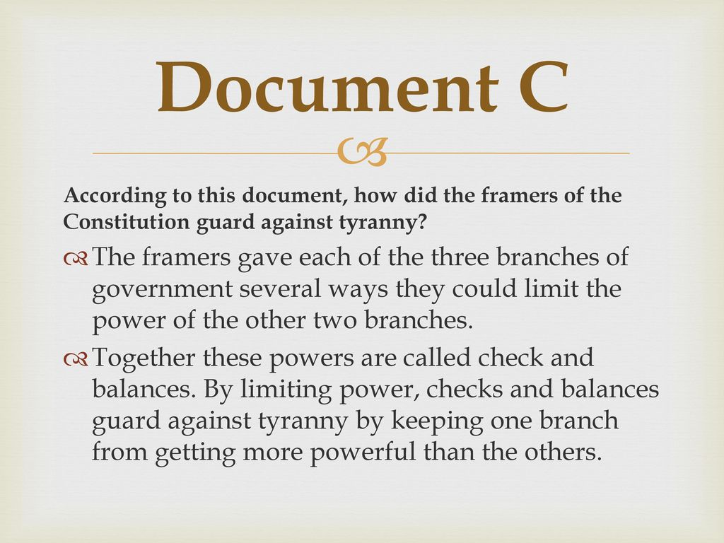 how did the constitution guard against tyranny mini q answers