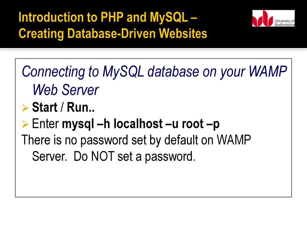 wamp default mysql password