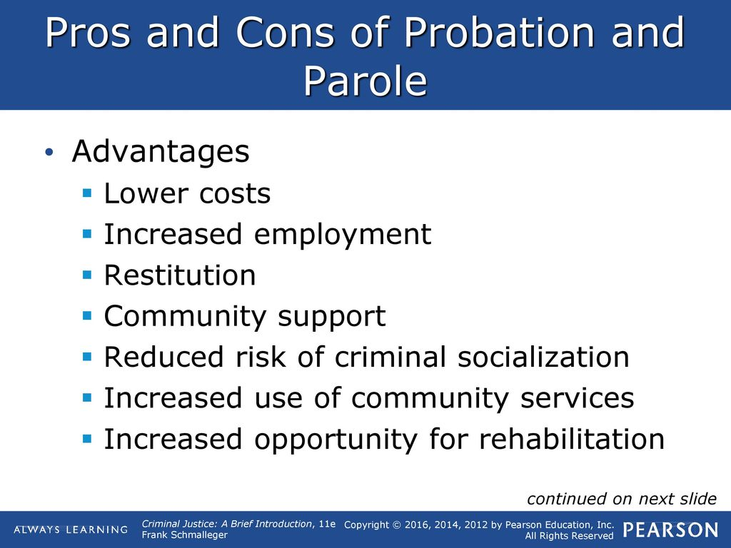 pros and cons of probation and parole
