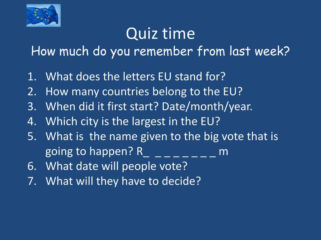 Quiz time How much can you remember Quiz Statistics and Answer Key