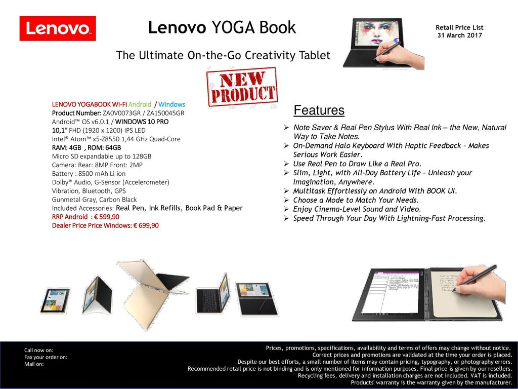 Lenovo YOGA Book Retail Price List 31 March ppt download