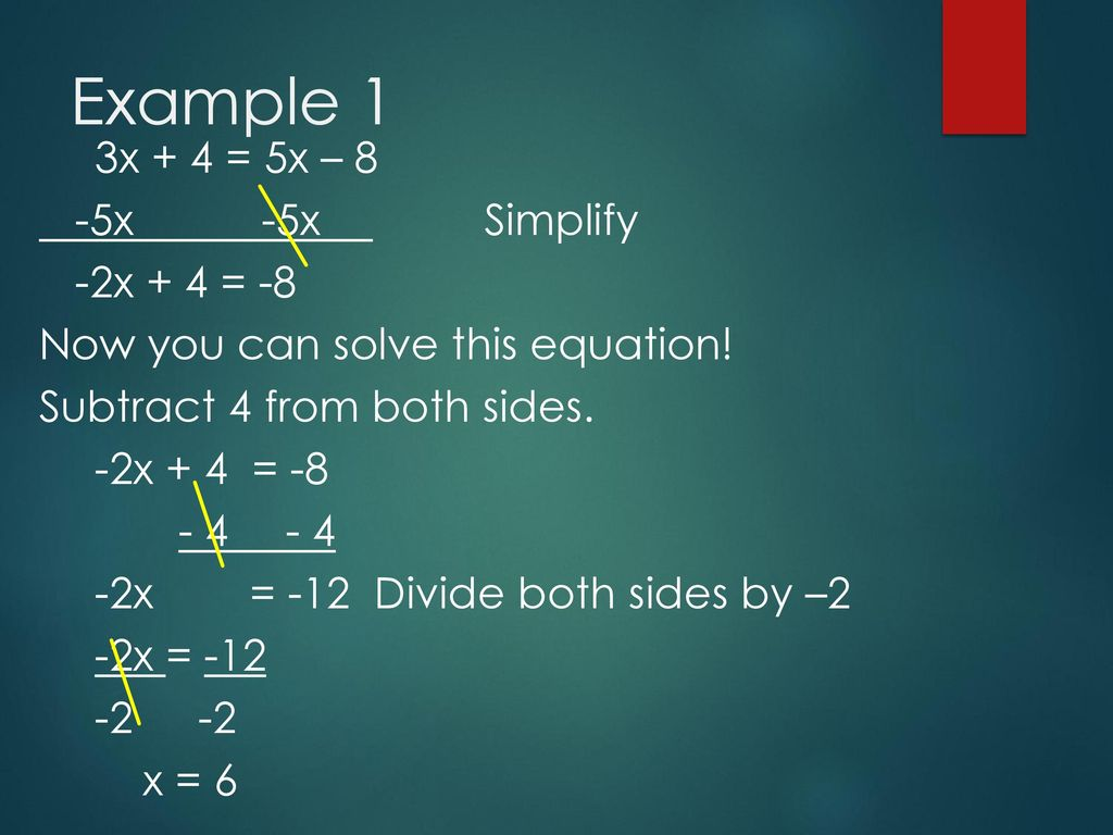 Solve Equations With Variables on Both Sides - ppt download