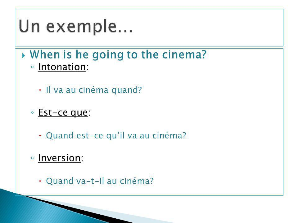 Un exemple… When is he going to the cinema Intonation: Est-ce que: