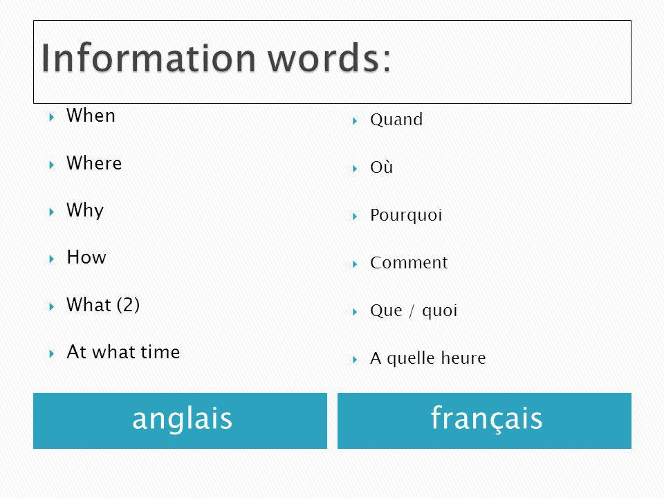 Information words: anglais français When Where Why How What (2)