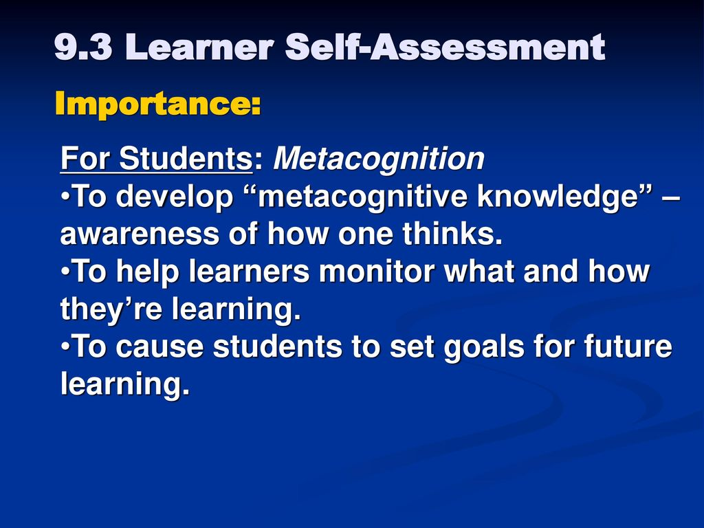 Goals for Class To understand assessment of student learning as an