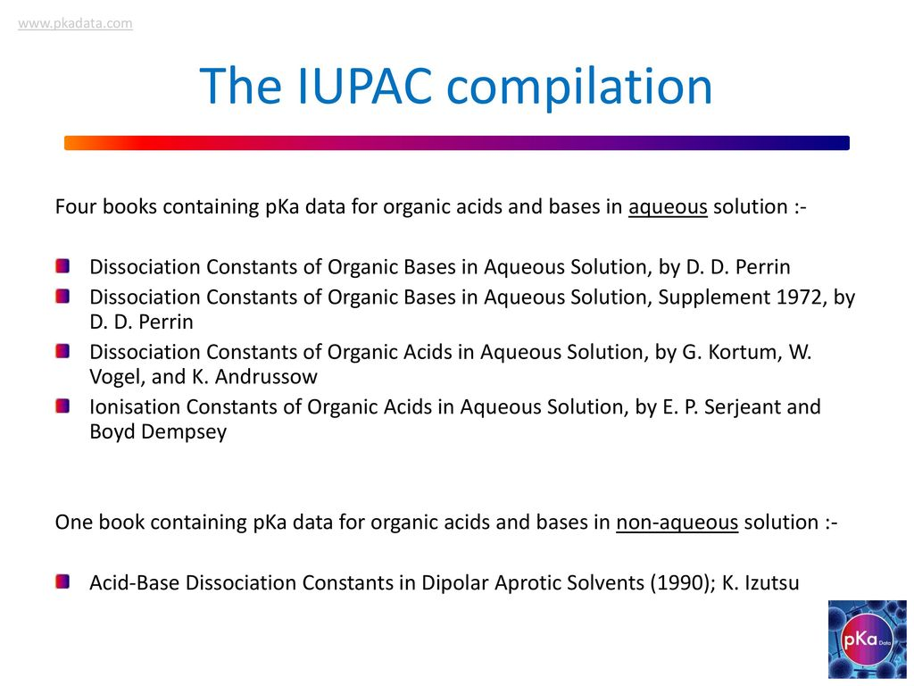 ... Dissociation Constants in Dipolar Aprotic Solvents (1990); K. Izutsu.  The IUPAC compilation. Four books containing pKa data for organic acids and  bases ...