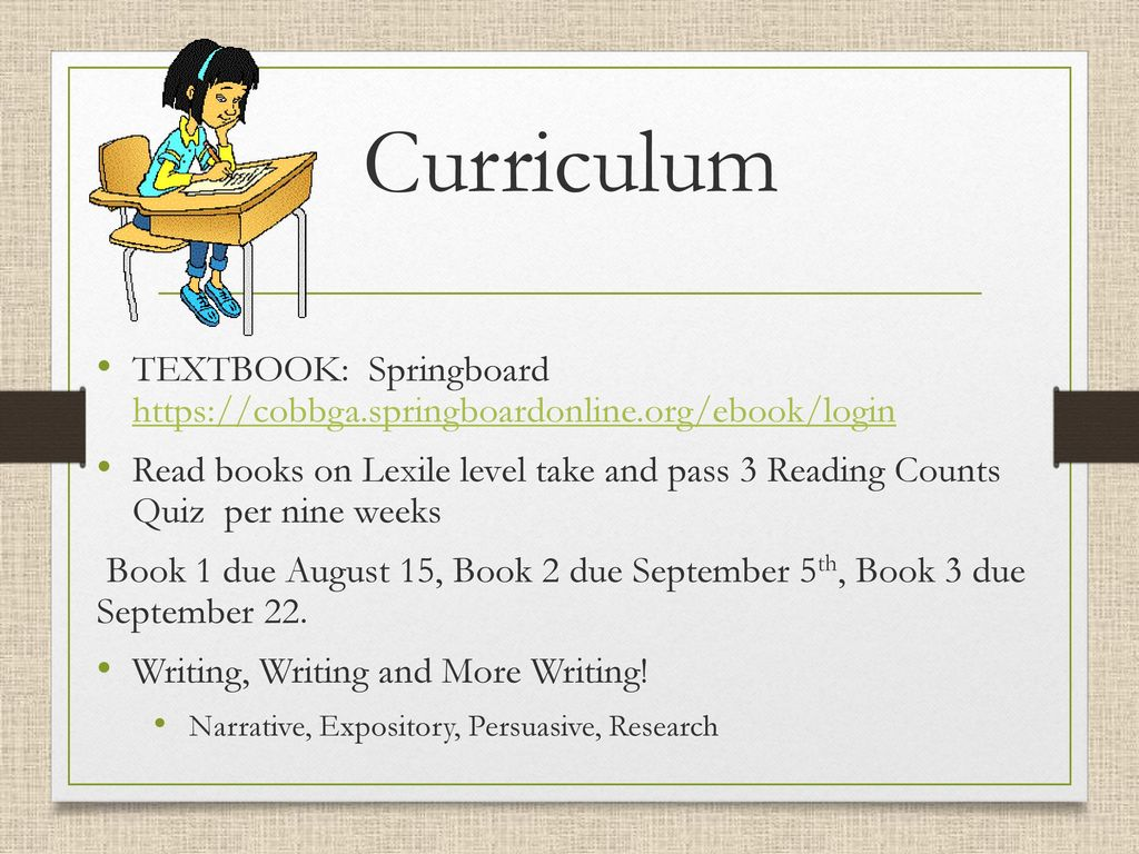 Welcome 6th grade open house ppt download 3 curriculum textbook springboard fandeluxe Gallery