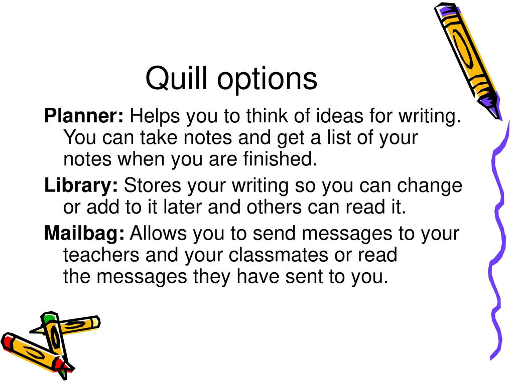 Quill Options Planner Helps You To Think Of Ideas For Writing Can Take