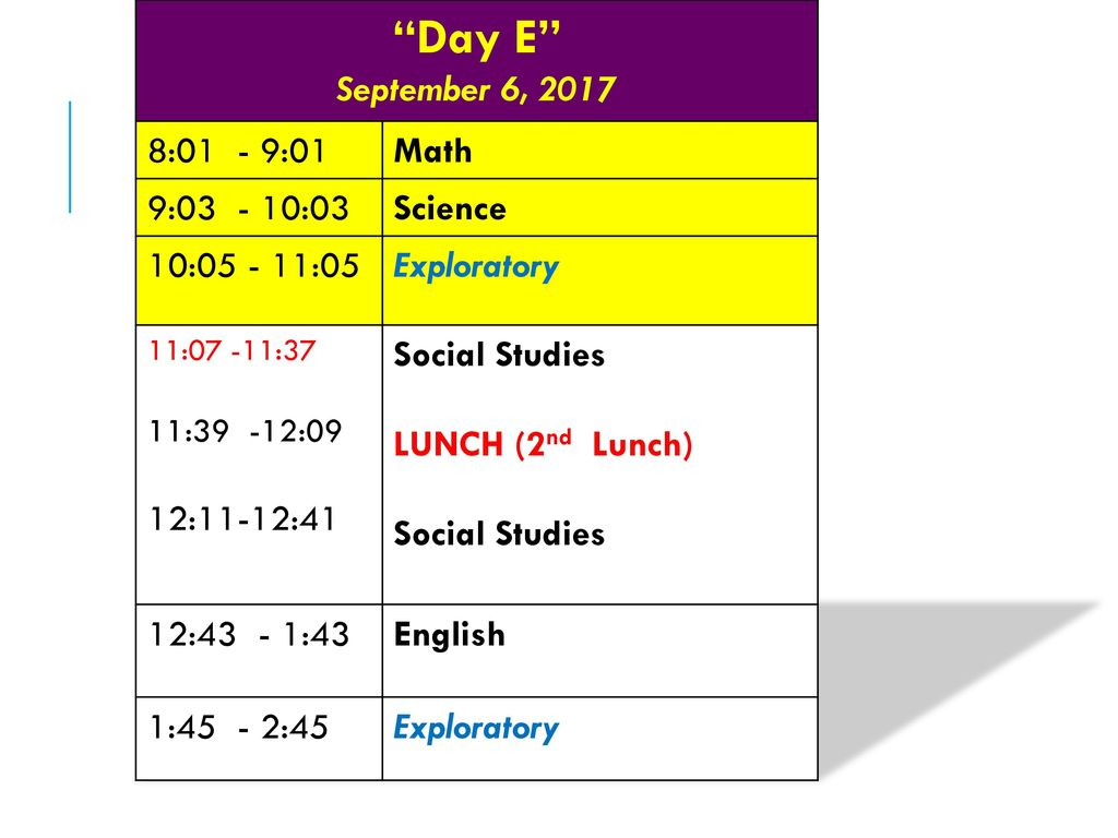 Day E September 6 01 901 Math 9 03 Science Ppt Download