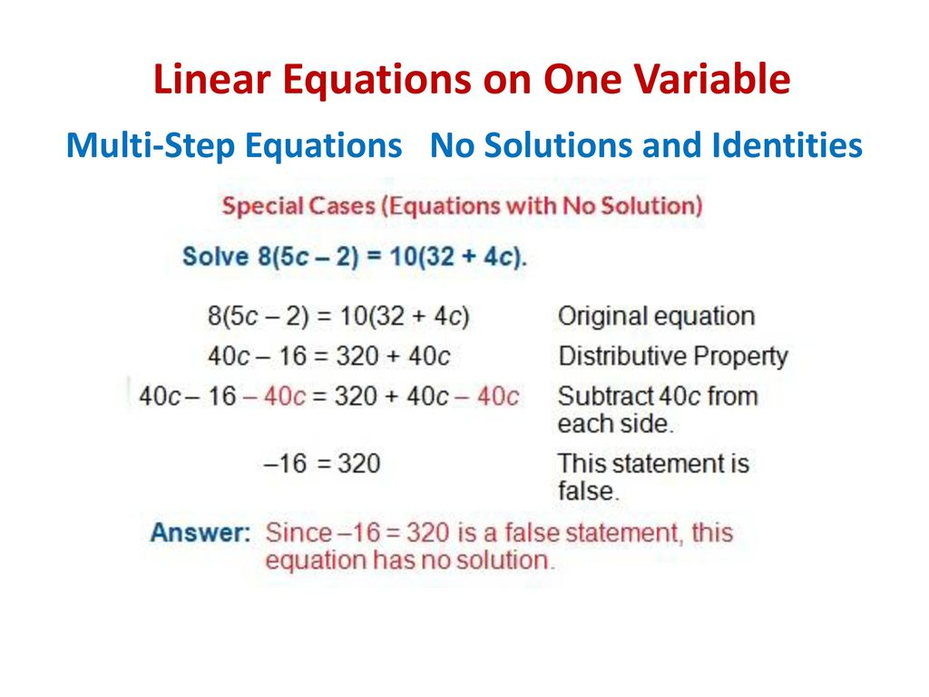 Linear Equations On One Variable Ppt Download