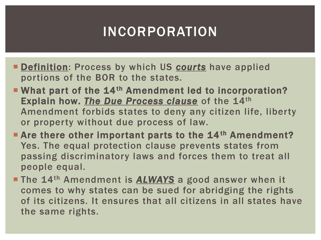 amendments & incorporation of the bill of rights - ppt download
