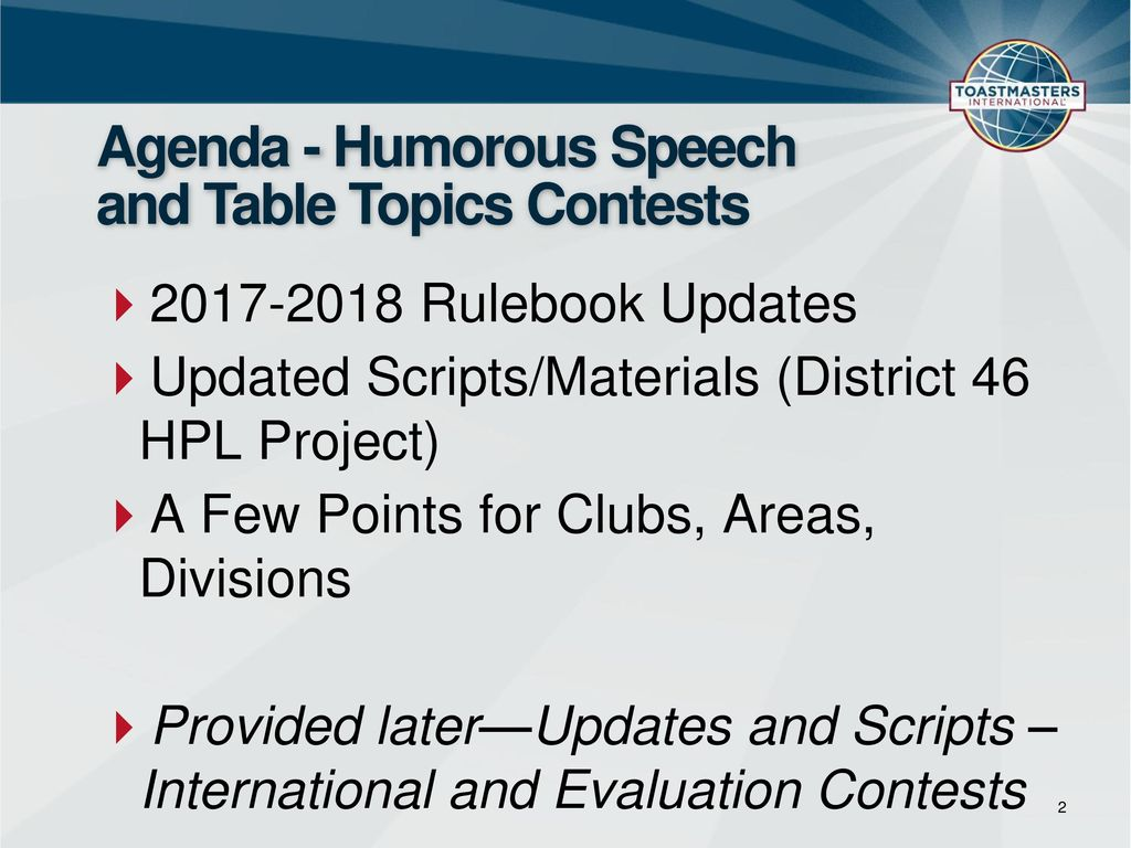 Humorous Speech and Table Topics Contests— - ppt download