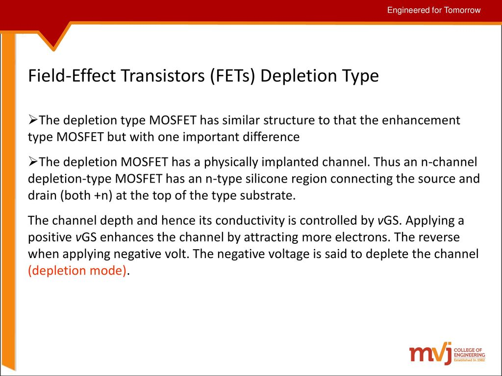 Subject Name Fundamentals Of Cmos Vlsi Code 10ec56 Ppt Demosfet Depletion Enhancement Mosfet Field Effect Transistors Fets Type