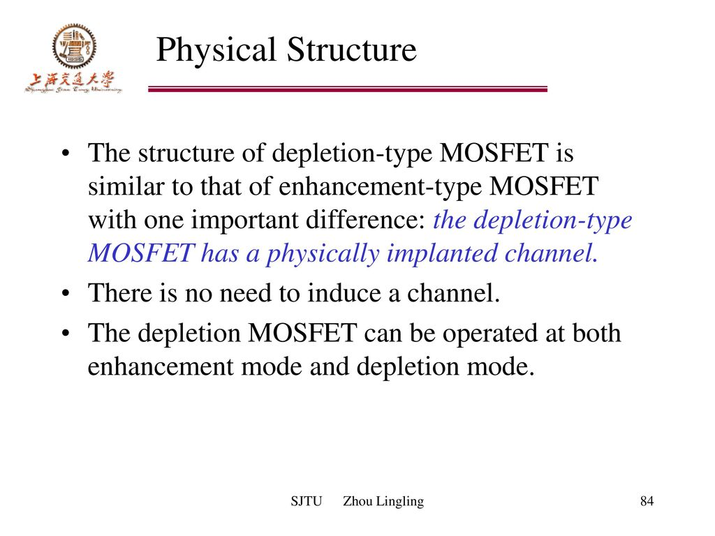 Chapter 2 Field Effect Transistors Fets Sjtu Zhou Lingling Ppt Demosfet Depletion Enhancement Mosfet Physical Structure